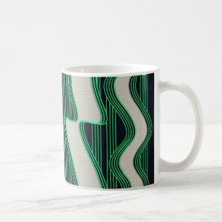 White Wave Fabric Green Neon lines Image Print Coffee Mug