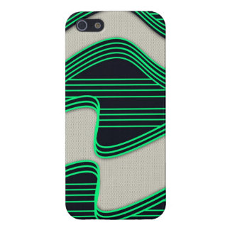 White Wave Fabric Green Neon lines Image Print iPhone 5/5S Covers