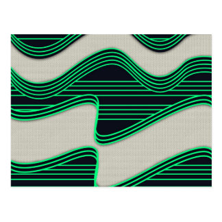 White Wave Fabric Green Neon lines Image Print Postcard