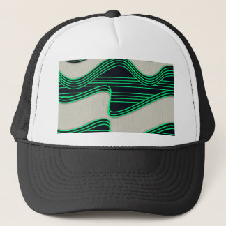 White Wave Fabric Green Neon lines Image Print Trucker Hat