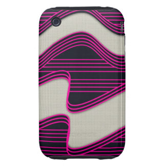 White Wave Fabric Pink Neon lines Image Print Tough iPhone 3 Cover