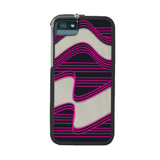 White Wave Fabric Pink Neon lines Image Print Case For iPhone 5