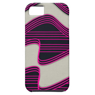 White Wave Fabric Pink Neon lines Image Print iPhone 5 Cover