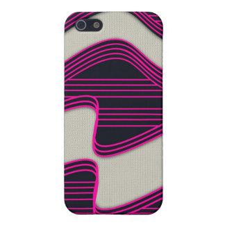 White Wave Fabric Pink Neon lines Image Print iPhone 5/5S Cover