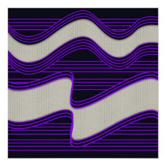 White Wave Fabric Purple Neon lines Image Print