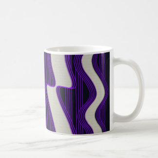 White Wave Fabric Purple Neon lines Image Print Coffee Mug