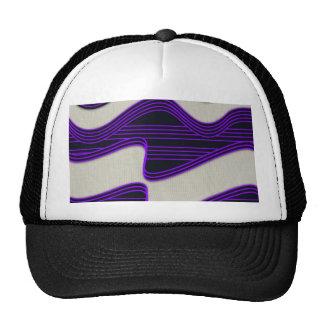 White Wave Fabric Purple Neon lines Image Print Trucker Hat