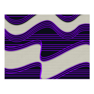 White Wave Fabric Purple Neon lines Image Print Postcard