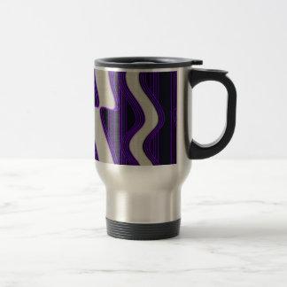 White Wave Fabric Purple Neon lines Image Print Travel Mug