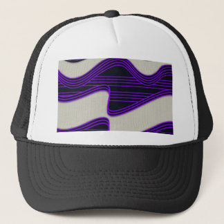 White Wave Fabric Purple Neon lines Image Print Trucker Hat
