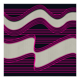 White Wave fabric Teal Neon lines Image Print