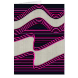 White Wave fabric Teal Neon lines Image Print Greeting Card