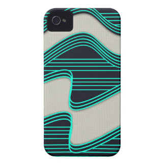 White Wave fabric Teal Neon lines Image Print iPhone 4 Case