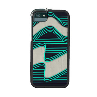 White Wave fabric Teal Neon lines Image Print iPhone 5/5S Covers