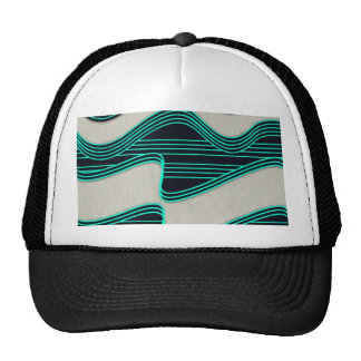 White Wave fabric Teal Neon lines Image Print Trucker Hat