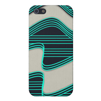 White Wave fabric Teal Neon lines Image Print Case For iPhone 5/5S