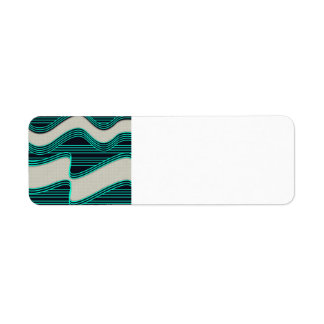 White Wave fabric Teal Neon lines Image Print Return Address Label