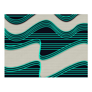 White Wave fabric Teal Neon lines Image Print Postcard