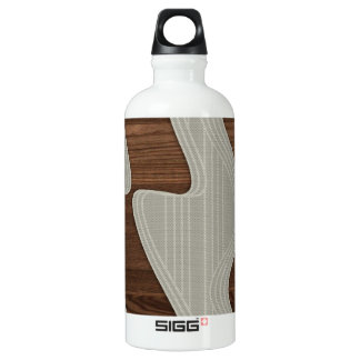 White Wave fabric vintage wood lines Image Printt Water Bottle