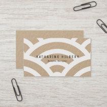 White Wave Pattern Kraft Paper Business Card