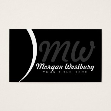 Professional Business White Wave Professional Monogram Business Cards