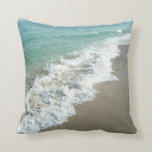 White Waves Crashing on Beach Shore Pillow