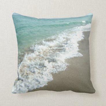 Beach Themed White Waves Crashing on Beach Shore Pillow