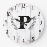 White Weathered Wood Rustic Farmhouse Barn Kitchen Large Clock