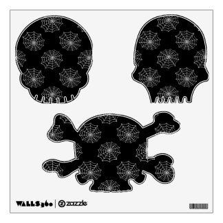 White web on black skulls room graphic decal