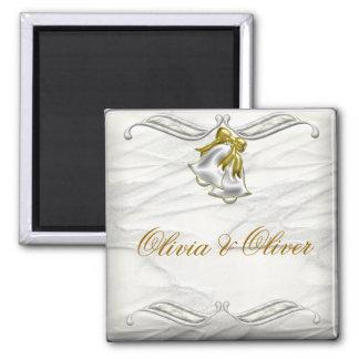 White Wedding 2 Inch Square Magnet