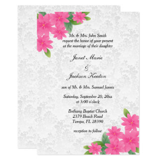 White Wedding and Pink Floral Invitation