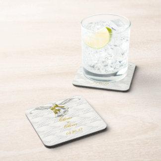 White Wedding Beverage Coaster