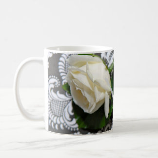 White Wedding Buttonhole Roses Photo Coffee Cup