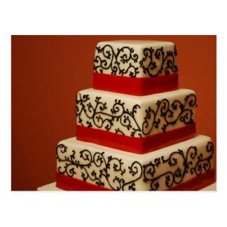 White Wedding Cake Black Lace Red Ribbon post card