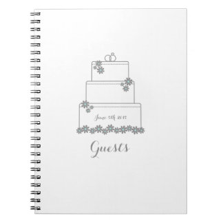 White Wedding Cake Guest Book Notebook