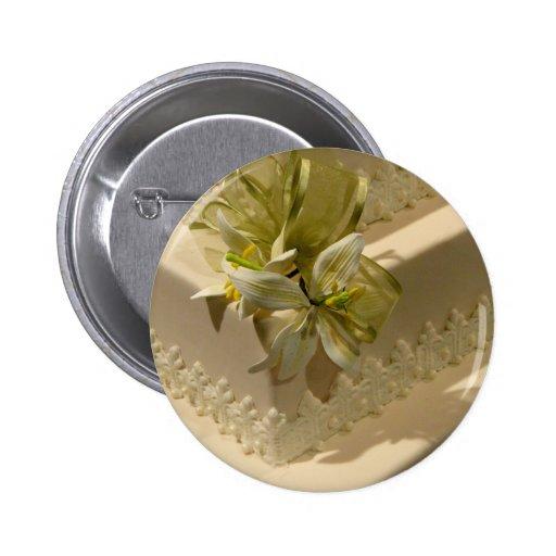 White Wedding Cake Pinback Button