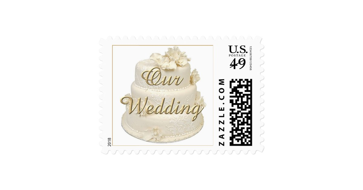 White Wedding Cake Stamps Zazzle