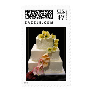 White Wedding Cake with calla lilies Postage Stamp