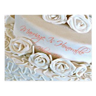 White wedding cake with Hebrews Bible verse Postcard