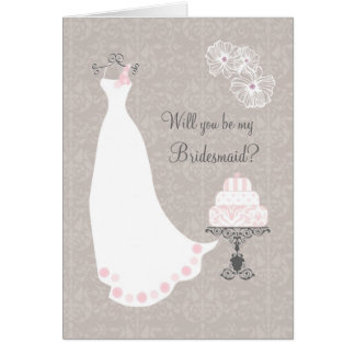 White Wedding dress and cake Bridesmaid Request Greeting Card