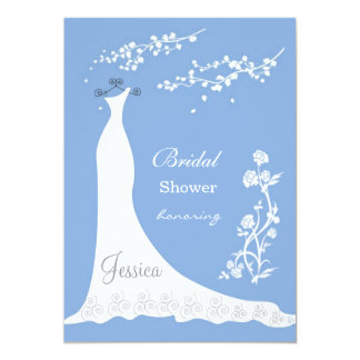 White wedding dress, blossom on blue Bridal Shower Card