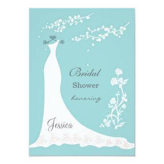 White wedding dress on aquamarine Bridal Shower Card