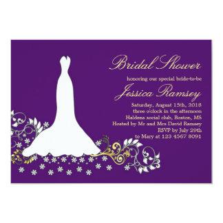 White wedding dress, swirl on purpe Bridal Shower Card