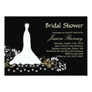 White wedding dress, swirls on black Bridal Shower Card