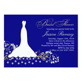 White wedding dress, swirls on blue Bridal Shower 5x7 Paper Invitation Card