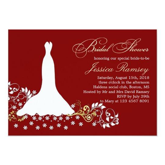 White Wedding Dress, Swirls On Red Bridal Shower