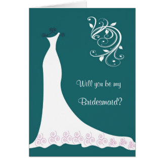 White Wedding dress swirls on teal Bridesmaid Cards