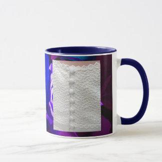 White Wedding Dress With Blue Purple Roses Mug