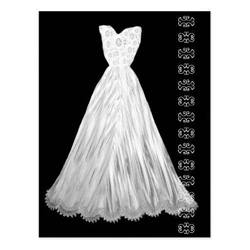 White Wedding Dress with Lace Accent Postcard from Zazzle