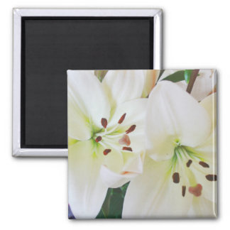White Wedding Flowers Save the Date Fridge Magnets